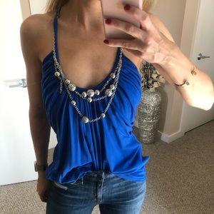 Embellished neckline blue cami silver WHBM